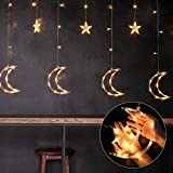 Outgeek Curtain Lights 138 LEDs USB and Battery Powered Moon Star Window Fairy String Lights with 8 Flashing Modes for Bedroom, Home, Garden, Wedding, Christmas Party Decoration
