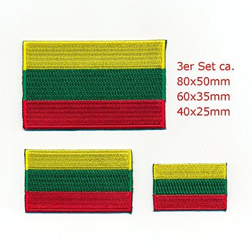 hegibaer 3 Litauen Flaggen Europa Flags Vilnius Patch EU Aufnäher Aufbügler Set 1060