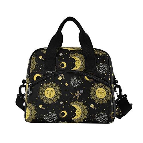 Bolsa de almuerzo bohemia vintage con diseño de sol, luna de cristal, con correa ajustable para el hombro
