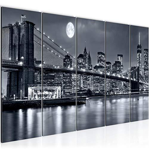 Runa Art Wandbild XXL New York City 200 x 80 cm Schwarz weiss 5 Teilig - Made in Germany - 606755a