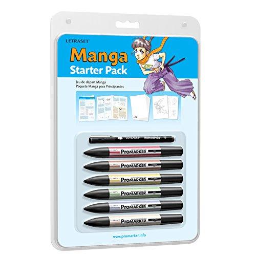 Letraset - Pack para principiantes en manga de ProMarkers, 6 colores y 1 rotulador de punta fina