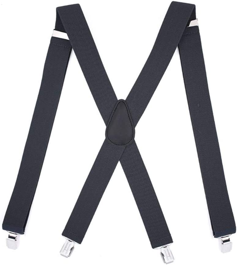ZYDP Mens Suspenders X-Back Wide Adjustable Solid Straight Clip Suspenders (Color : Black)
