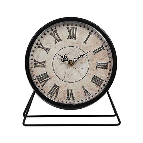 S.W.H Reloj de Mesa Negro Vintage Silencioso Sin Tictac Reloj de Escritorio de Metal Analógico 9 Pulgadas Clásico Retro Sala de Estar Dormitorio Oficina Reloj de Manto Regalo