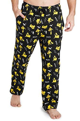 Pokémon Pantalon Pyjama Homme Pikachu, Bas De Pyjama Long 100% Coton Taille S, M, L, XL et Grande Taille 2XL, 3XL, Idée Cadeau Geek pour Adulte Ou Ado (XL)