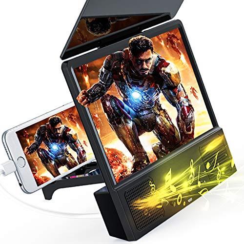 Lupa de pantalla de teléfono móvil curvada en 3D que puede cargar teléfonos móviles, con parlantes Bluetooth, lupa de película de...