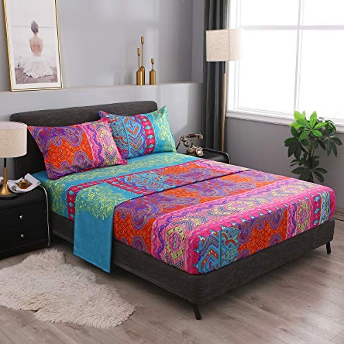 Pangzi Bohemian Retro Bedding Sheet Set ,Boho Sheets-1 Fitted Sheet, 1 Flat, 2 Pillow Cases - 4 Piece (Queen, Red)