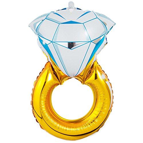 Fenteer Gran Forma De Anillo De Diamante Grande Globo De Helio Lá Mylar Globo para Compromiso De Boda Proponer Decoración del Partido - 75x50cm