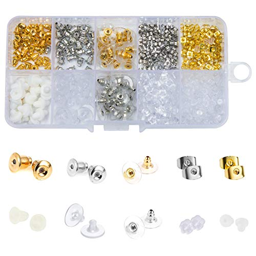 hdauk 450 Pcs Earring Backs Kit, 10 Styles with Metal Rubber Plastic Secure Hypo-Allergenic Comfort Earring Stopper Safety Earring Pad Backing