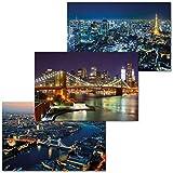 GREAT ART Set di 3 Poster XXL - Città di Notte - Brooklyn Bridge Londra Thames Tokyo Giappone Skyline Skyscraper Decorazione da Parete Carta da Parati Immagine Murale 140 x 100 cm