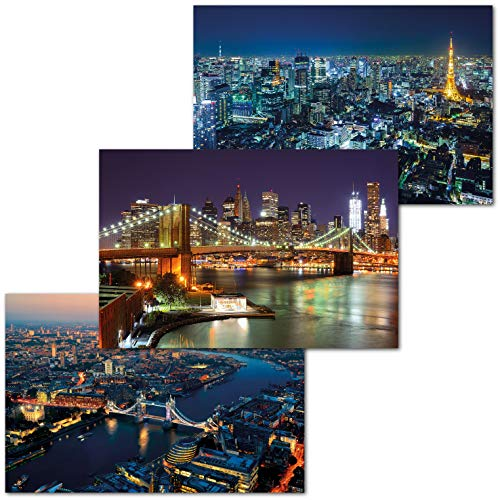 GREAT ART 3er Set XXL Poster – Städte bei Nacht – Brooklyn Bridge London Themse Tokyo Japan Skyline Skyscraper Wand Dekor Inneneinrichtung Wandbild Plakat je 140 x 100 cm