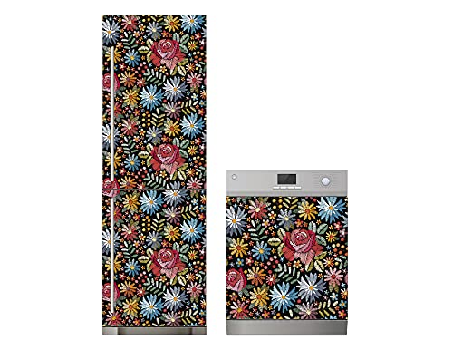 Oedim Pack Vinilo para Frigorífico + Vinilo para Lavavajillas Flores Colores, Adhesivo Resistente y Económico, Pegatina Adhesiva Decorativa de Diseño Elegante