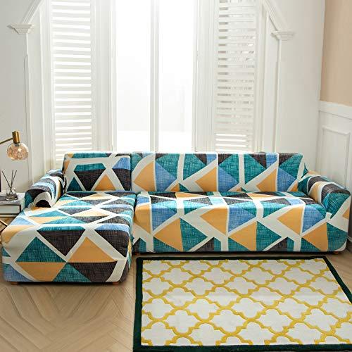 NIBESSER Sofabezug Sofaüberwürfe für L-Form Geometrie Muster Sofa elastische Stretch Sofabezug (Muster 2,1 Sitzer+2 Sitzer)