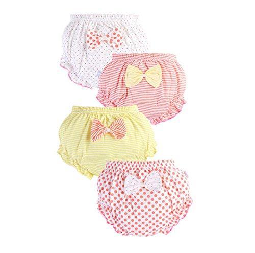 Ymwave 4 Set Süß Mädchen Unterhosen Baby Mädchen Zum Unterwäsche Unterwäsche Sehr Atmungsaktiv zum Trockenwerden 90cm/1-2 Jahre alt Rosa,gelb,weiß