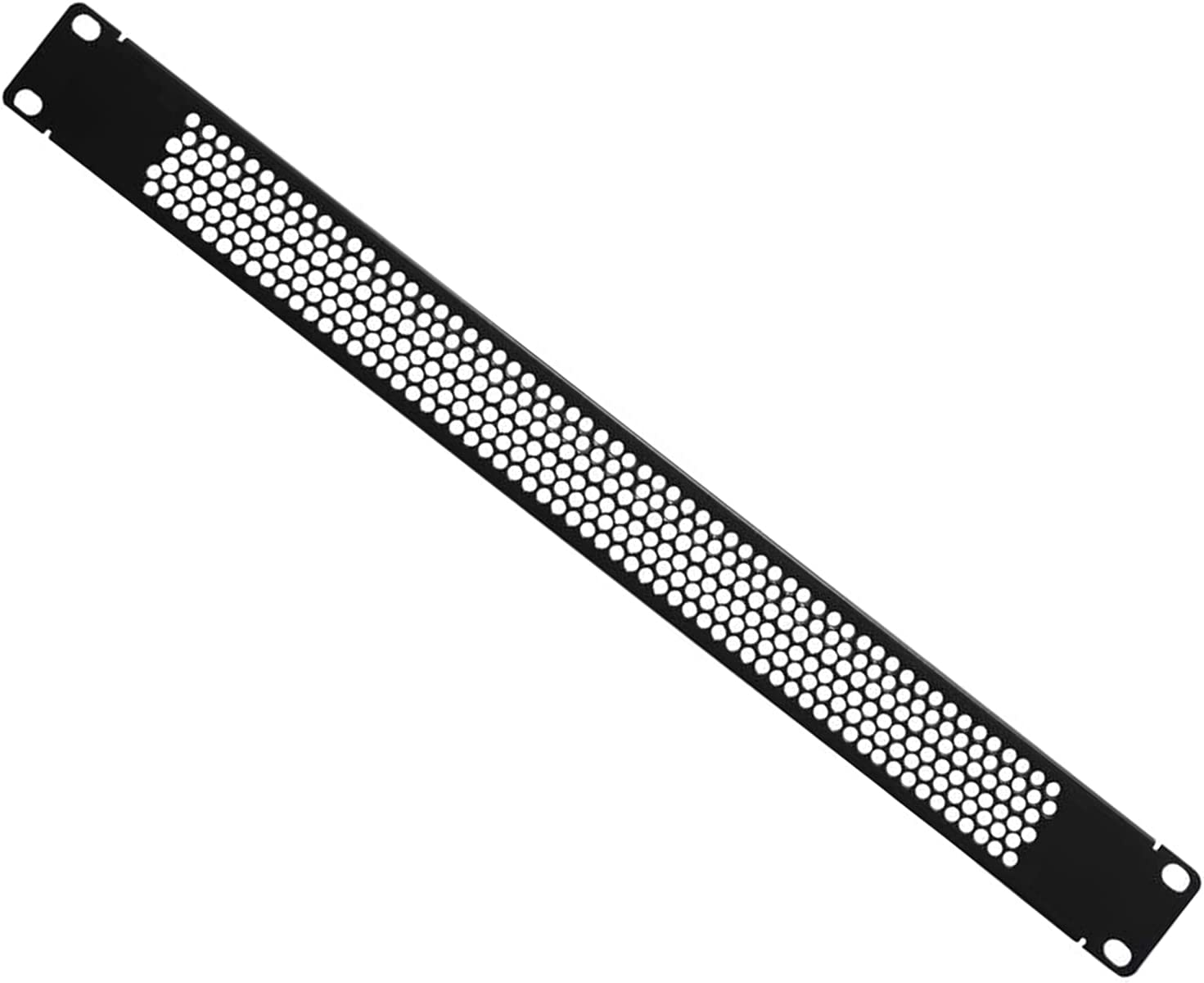 1U Blank Rack Mount Panel partition with Vent Holes, Used in 19-inch Server Network Rack Chassis or Cabinet, Black