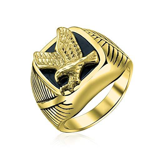 Bling Jewelry Mens Grande Déclaration Noir Patriotique USA Volant Américain Aigle Chauve Carré Chevalière pour Hommes Plaqué Or en Acier Inoxydable