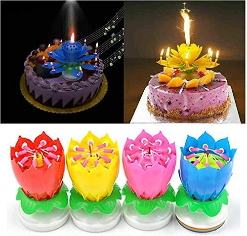 XINGYUSP Rotating Lotus Cạndlê Birthday Cake Flower Musical Music Cạndlê Whit Music Magic, Birthday Cạndlê, Musical Birthday Cạndlê Rotating Lotus Cạndlê, Birthday Cake Candles Decorations (2pcs)