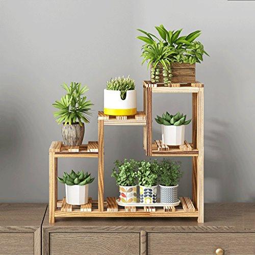 Japanisch-Art kreative Massivholz Mini Blumenregal, Innen- und Outdoor-Blumen Racks, schwimmende Fensterbank Schlafzimmer Tisch Desktop Blumen Rack, kleine Lagerregale, Display-Racks, 40 * 56 cm