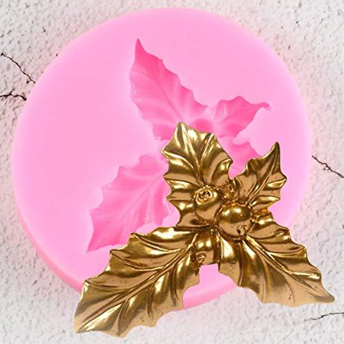 YANHU Stampo in Silicone per Foglie Foglia di AgrifoglioStampo perDecorazione di Torte NatalizieStampo Fai da Te Cupcake Topper CandyGumpaste Muffa