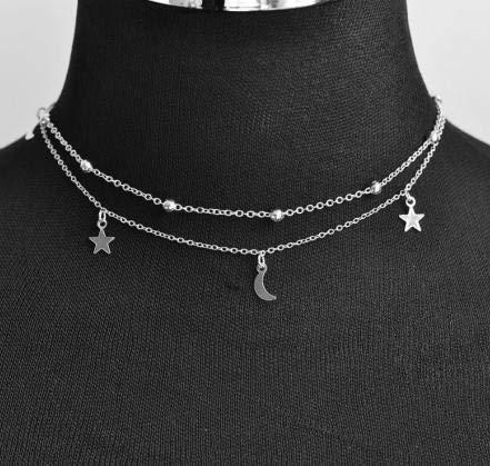Dfgh Nieuwe mode-sieraden 2 lagen ster maan choker ketting leuk cadeau for vrouwen meisje (Length : 40cm, Metal Color : Silver)