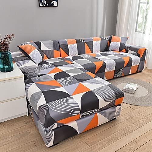WXQY Funda de sofá de Esquina con patrón de Lino, Utilizada para la Funda de sofá de la Sala de Estar, sofá elástico con Todo Incluido, sillón Chaise Longue A5 de 2 plazas