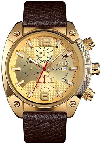 Los hombres de negocios s reloj de cuarzo de seis agujas de los hombres s reloj de la correa de reloj luminoso puntero reloj de tendencia de los hombres s reloj-negro-negro-oro