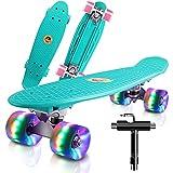 """Monopatin Completo Mini Cruiser Skateboard 22"""" Retro Skateboard para Niños Adolescentes Adultos, Ruedas con Luz LED y Herramienta en T de Patinaje Todo en Uno (Menta Verde)"""