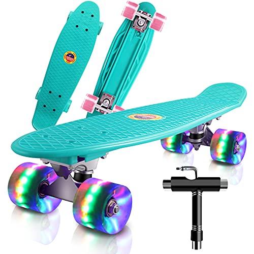 Monopatin Completo Mini Cruiser Skateboard 22' Retro Skateboard para Niños Adolescentes Adultos, Ruedas con Luz LED y Herramienta en T de Patinaje Todo en Uno (Menta Verde)
