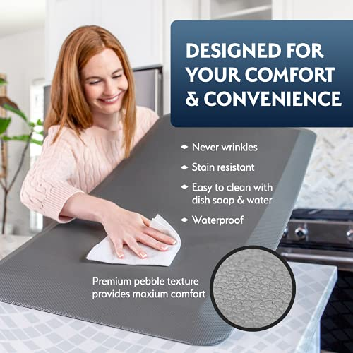 Sky Solutions Anti Fatigue Mat - Cushioned Comfort Floor Mats for Kitchen, Office & Garage - Padded Pad for Office - Non Slip Foam Cushion for Standing Desk (20x39x3/4-Inch, Indigo Deco)