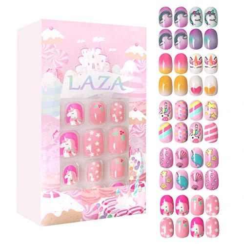 Laza 120pcs Children Nails Press On Pre-glue Full Cover Glitter Gradient Color Rainbow Sparkling Star Unicorn Shell Short False Nail Kits for Kids Teenager Girls - Legend of Unicorn