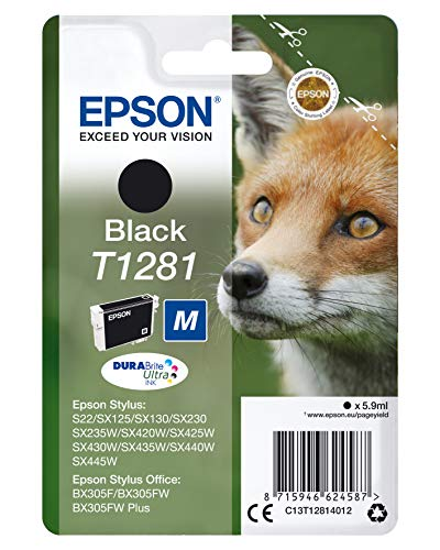 Epson T1281 Serie Volpe, Cartuccia Originale Getto d'Inchiostro DURABrite Ultra, Formato Standard, Nero, con Amazon Dash Replenishment Ready