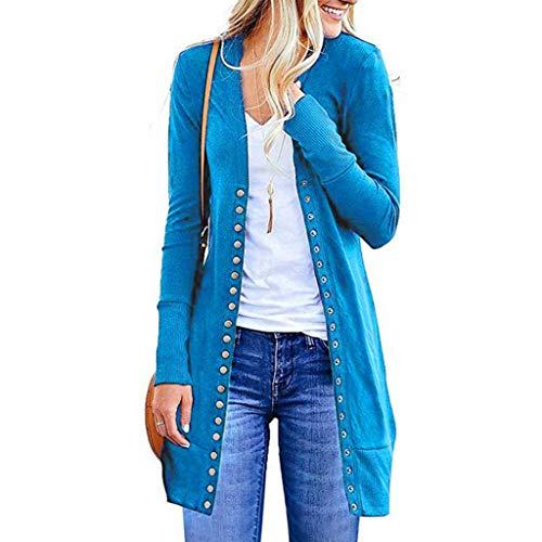 acction Cardigans - Sudadera Larga para Mujer con Botones Frontales Abiertos, Suave y cómoda