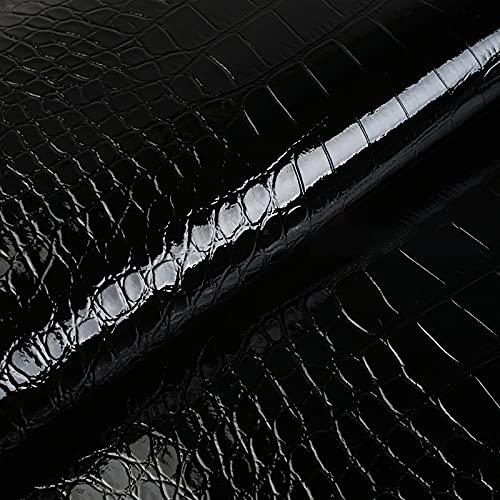 MUYUNXI Polipiel Cuero Artificial De Cuero para Tapizar Sofá Polipiel Silla Manualidades Cojines 138 Cm De Ancho Vendido por Metro(Color:Negro)