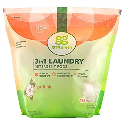 Grab Green Natural 3 in 1 Laundry Detergent Pods, Gardenia-With Essential Oils, 132 Loads, Organic Enzyme-Powered, Plant & Mineral-Based, 74.5 Ounce