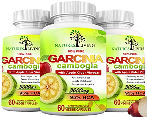 Pure Garcinia Cambogia Extract & Apple Cider Vinegar- 3000mg Capsules - All Natural Weight Loss, Detox, Digestion & Circulation Support - Best Weight Loss Supplement & Carb Blocker (3 Pack)