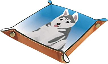 Cute Little Husky Valet Tray Storage Organizer Box Coin Tray Key Tray Nightstand Desk Microfiber Leather Pouch,16x16cm