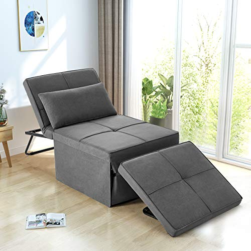 YOLENY Sofa Bed, Convertible Chair 4 in 1 Multi-Function Folding Ottoman Bench Modern Breathable Linen Guest Bed with Adjustable Sleeper for Small Room Apartment