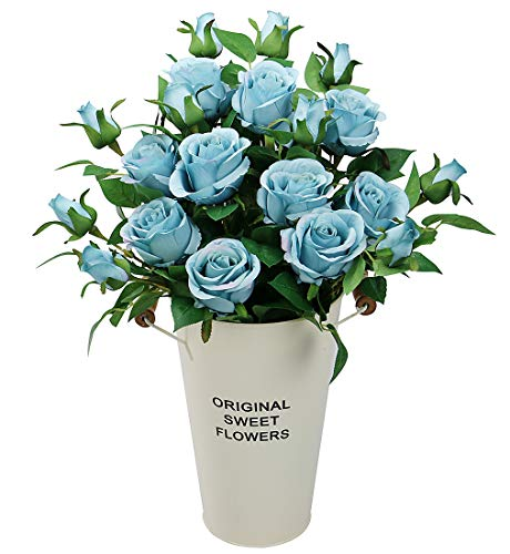 Olrla 6 bouquet di rose artificiali vintage fiori in finta seta, bouquet da sposa decorazione per casa hotel ufficio giardino (blu profondo, 6)