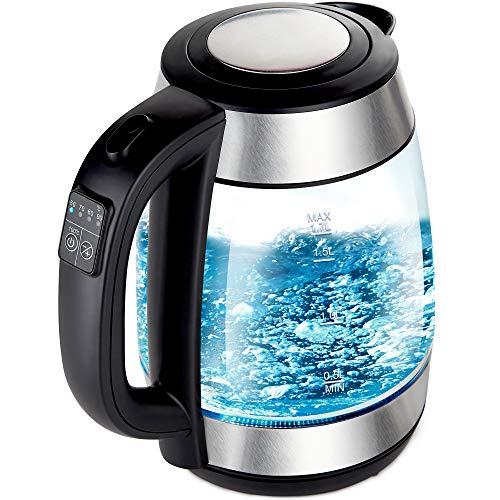 Netta Elektrischer Wasserkocher aus Glas, 1,7 Liter, 3000 W, mit Temperaturregelung, blau beleuchteter LED-Krug mit Drehfuß und Klappdeckel