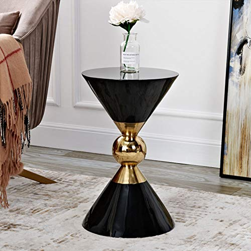 FENXIXI Mesas auxiliares de salón Style Mesa de té Dorada Sofá Mesa Auxiliar Mesita Auxiliar Blanca y Negra (Color : B)
