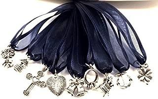 (9) Pewter Cake Pull Charms Brides - Weddings - Navy Blue Ribbon
