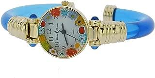 Murano Glass Millefiori Bangle Watch - Navy Blue