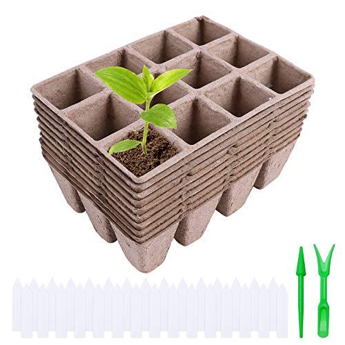 Ulikey Macetas Biodegradables, 30 Piezas Macetas de Fibra Biodegradables, Semilleros de Germinacion Biodegradable para Plántulas Maceta de Sembrado para Jardín Semillas y Trasplantes