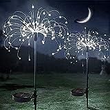 Luces Solares de Fuegos Artificiales, ZVO 2 Unidades 150 LED Luces Hadas Starburst, 2 modos Lámparas Solares para Jardín Impermeables para Jardín, Camino, Navidad, Césped, Boda (Blanco)