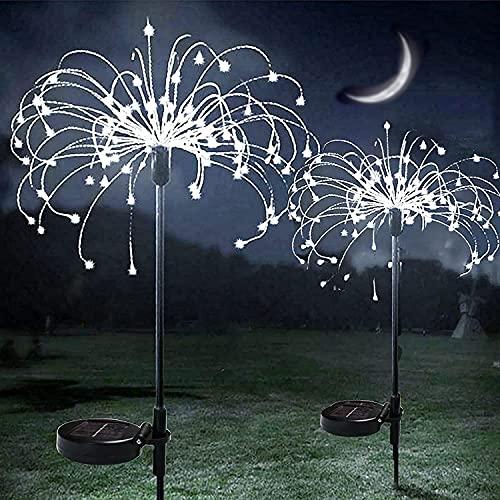 Luci a energia solare, ZVO 2 pezzi 150 LED Luci Fairy Starburst per esterni, 2 modalità di illuminazione con impermeabile, per giardino, vialetto, prato, matrimoni, aiuole (bianco)