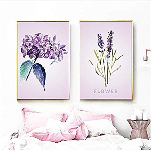 Canvas print,Aquarel Roze Bloem Lavendel Plant Wall Art Creativiteit Nordic Posters en Prints Muur Foto's voor Woonkamer Decor-50x70x2Pcscm