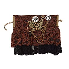 Punk Lolita Victorian Bracelet. Vintage retro style. Made from vintage bronzing lace and alloy. Decorated with Gears, Chain, Beads. Cosplay, LARP Party Costume accessories. Floral Lace. Extender Chain design, makes it adjustable. Length: about 18cm +...
