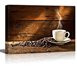 Canvas Prints Wall Art - Coffee Cup and Coffee Beans on Old Wooden Table | Modern Wall Decor/Home Art Stretched Gallery Canvas Wraps Giclee Print & Ready to Hang - 16' x 24'