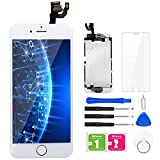 BuTure Para Pantalla iPhone 6, 4.7' Blanco Pantalla Táctil LCD con Cámara Frontal,Sensor de proximidad,Altavoz, ensamblaje de Marco digitalizador y Kit de reparación