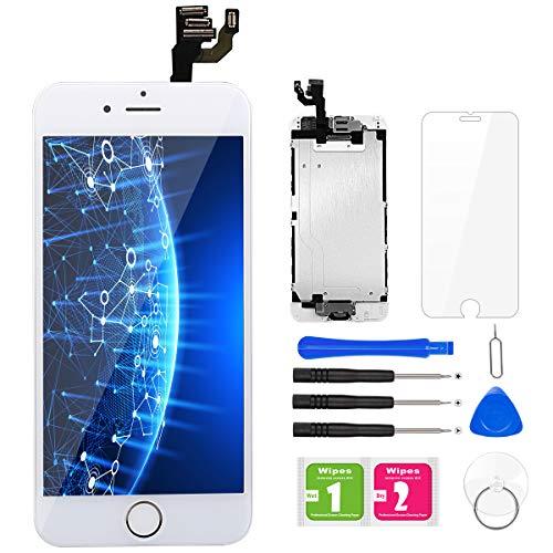 BuTure Para Pantalla iPhone 6 Blanco Pantalla Táctil LCD con Cámara frontal,Sensor de proximidad,altavoz, ensamblaje de marco digitalizador y kit de reparación