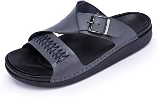 SHENLIJUAN Slippers for Men Sandal Casual Slip On Style OX Leather Monk Strap Casual Simple Solid Colors Outsole